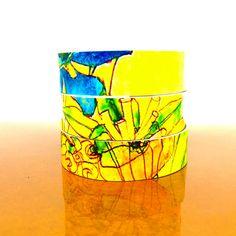 Boho Fashion - Yellow Cuff Bracelet - Wearable Art - Triptych Art - Adjustable Bracelet Set - Aluminum Bracelet - Bold Jewelry - Sku TR-007