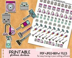 FREE set of kawaii trash bins stickers for your planner! PDF and silhouette cut files included.