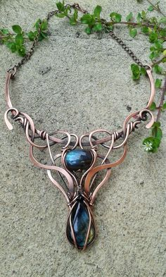 Copper wire wrapped fairy necklace with natural Labradorite ston https://www.etsy.com/listing/287561201/copper-wire-wrapped-fairy-necklace-with?ref=shop_home_active_3 #jewelrybusiness
