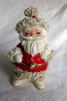 Ceramic Santa Claus Spaghetti Trim 1940/'s Vintage Christmas Roly Poly Rocker Figurine
