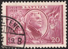 "Latvia 1938 Scott 203 20s red lilac ""Pres. Karlis Ulmanis"""