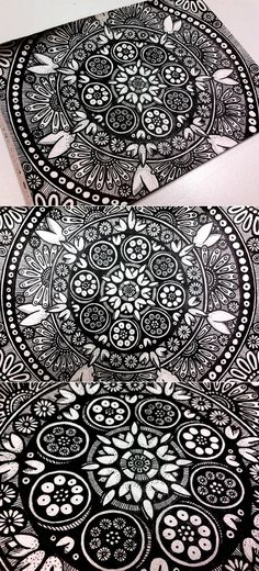 loving this black + white floewr mandala #pen #journal #doodle