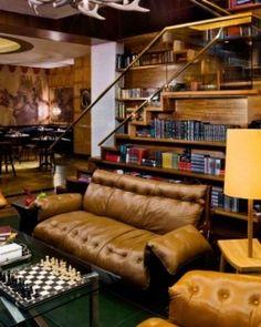 ♂ Masculine interior design lobby of Gild hall in NYC.