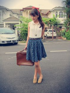 Divided Lace Top, Polka Dot Skirt Brown loafers