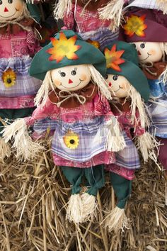 Colorful scarecrow decorations for Halloween and Thanksgiving