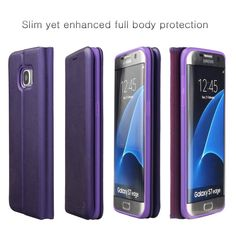 Amazon.com: Nouske Samsung Galaxy S7 Wallet Case with Credit Card Holder and Stand Shockproof PU leather Flip Bumper,Purple: Electronics