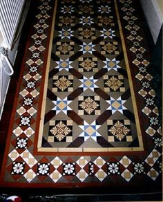 """From geometric and encaustic tiled floors started to appear in public buildings, churches and the more expensive Victorian villas. Their rise to fashion was assured by their use in such prestigious buildings as the Victoria and Albert Museum, an Victorian Terrace House, Victorian Tiles, Edwardian House, Victorian Interiors, Victorian Era, Edwardian Hallway, Hall Tiles, Tiled Hallway, Hall Flooring"
