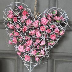 Pink Floral Rattan Heart Wreath  #heart #decor #decorideas #homedecor #interiordesign #interiordecor #pink #roses #homeideas #trends #homestyle #homeideas #wallart