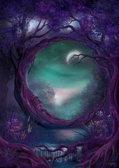 Discovered by purple rose. Find images and videos about art, night and moon on We Heart It - the app to get lost in what you love. Moon Magic, Fantasy Landscape, Moon Art, Fantasy World, Faeries, Illustration, Fairy Tales, Fairy Land, Scenery