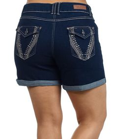 Loving this Blue Embellished Denim Shorts - Plus on #zulily! #zulilyfinds
