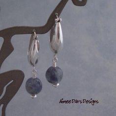 Sterling Silver and Kyanite Earrings by aimeedarsdesigns on Etsy