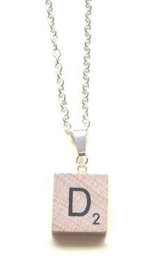 """Handmade Personalised 'D' Scrabble Necklace ~ 18"""" D Scrabble Necklace - Unique."""