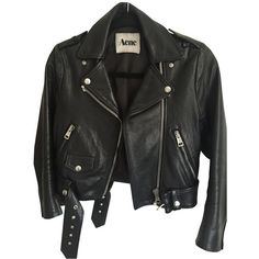 Leather jacket ACNE STUDIOS (55.225 RUB) ❤ liked on Polyvore featuring outerwear, jackets, tops, leather jackets, coats, acne studios jacket, 100 leather jacket, real leather jackets and genuine leather jackets