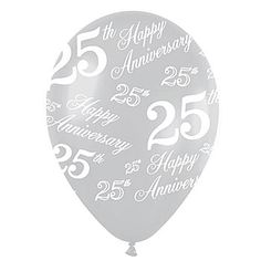25th Anniversary Printed Latex Balloons Pkg/50