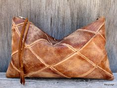 Leather Clutch Bag in Honey Brown Distressed Diamond by stacyleigh, $110.00