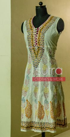 Absolutely summery white cotton printed kurti/tunic  http://on.fb.me/1lyGGD0