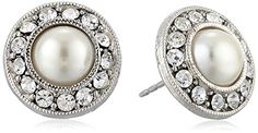 "1928 Jewelry ""Bridal Crystal"" Silver-Tone Crystal and Simulated Pearl Button Stud Earrings 1928 Jewelry http://www.amazon.com/dp/B00E9DJVBI/ref=cm_sw_r_pi_dp_ln0Pub1X53M5Q"
