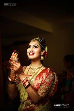 South Indian bride. Gold Indian bridal jewelry.Temple jewelry. Jhumkis. Gold silk kanchipuram sari. Braid with fresh jasmine flowers. Tamil bride. Telugu bride. Kannada bride. Hindu bride. Malayalee bride.Kerala bride.South Indian wedding. Pinterest: @deepa8