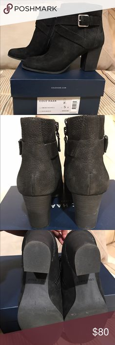 Cole Haan Bootie Cole Haan Hinckley Bootie LL. Size 5. Color is Black Nubuck. Suede. In great condition. Worn only once for an hour. Bought it but decided not really my style.  Feel free to ask questions. Cole Haan Shoes Heeled Boots