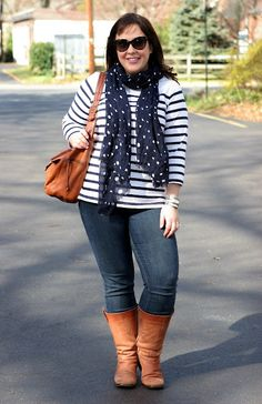 Striped shirt, polka-dot scarf, leather boots. Allie at Wardrobe Oxygen.