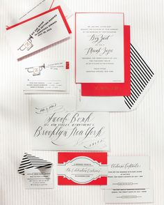 Stationer Cheree Berry designed these lively invites, which included a Dark & Stormy drink ticket for the reception.