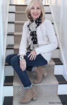 Wearing booties with jeans and sweaters. #FashionOver60