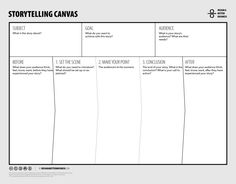 Learn how to design better stories using the Storytelling Canvas. Make your stories more engaging, and achieve better results with your audience. Innovation Management, It Management, Innovation Strategy, Business Management, Business Planning, Innovation Design, Business Canvas, Design Thinking, Kaizen