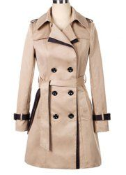 $20.84 Double-breasted Back Strappy Beam Waist Long Edition Polyester Color Matching Trench Coat For Women