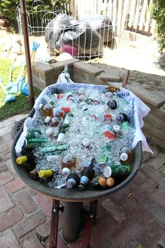"Love this concept, or perhaps a cooler that has a ""wagon look"" if you don't have a clean wheelbarrow for my baby's farm party Petting Zoo Birthday Party, Cowgirl Birthday, Cowgirl Party, Farm Birthday, 4th Birthday Parties, Birthday Ideas, Cowboy Theme, Farm Animal Party, Farm Party"