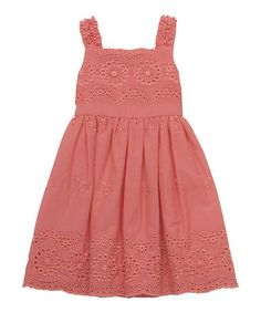 Love this Coral Floral Embroidered Eyelet Dress - Girls on #zulily! #zulilyfinds                                      $29.99