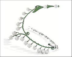 Michele della Valle, collana con diamanti taglio rotondo e tsavoriti
