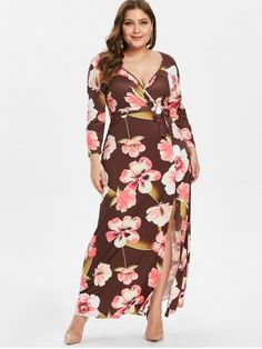6be08531575 Plus Size Front Slit Floral Print Maxi Dress with Belt Beach Party