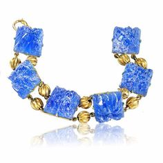 Art Deco Bracelet Blue Czech Glass Gold Bead Vintage 1920s Art Deco Jewelry