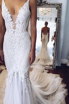 White Deep V neck Backless Mermaid Sleeveless Lace Tulle Long Beach Wedding Dress,N536