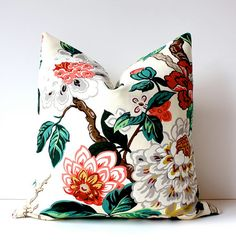 "Modern Emerald Pink Decorative Designer Pillow Cover 18"" Accent blossoms oriental floral chinoiserie green cream gold red jacobean"