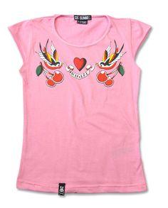 Rockabilly cherry bird pink six bunnies T-shirt