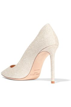 Jimmy Choo - Romy Glittered Leather Pumps - Platinum - IT