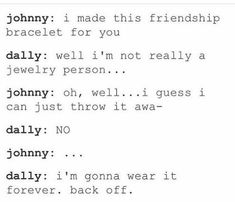 The Outsiders Johnny and Dally: family to each other