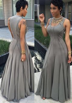 Grey Plain Pleated Round Neck Big Swing Plus Size Prom Maxi .- Grey Plain Pleated Round Neck Big Swing Plus Size Prom Maxi Dress Grey Plain Pleated Round Neck Big Swing Plus Size Prom Maxi Dress - Plus Size Prom, Plus Size Dresses, Iranian Women Fashion, African Fashion, Gray Formal Dress, Formal Dresses, Women's Fashion Dresses, Sexy Dresses, Wedding Dress Accessories