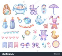 Watercolor Baby Shower Set Design Elements Stock Illustration ...
