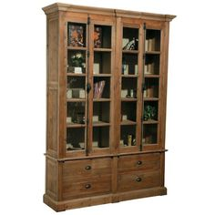 Pine Bookcase 4 Doors/4 Drawers With Bin Pulls
