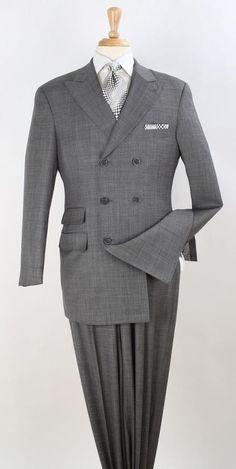 Suits - Apollo King Men's Double Breasted Suit Wool Dress Suits For Men, Suit And Tie, Men Dress, Shirt Dress, Mens Fashion Suits, Mens Suits, Fashion Menswear, Fashion Wear, Grey Colour Suit