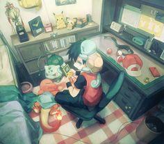PikaGamer. Pikachu, Pichu, Bulbasaur, Charmander, Red (Pokémon), Squirtle (by きろば/kirobaito,Pixiv Id 67598)