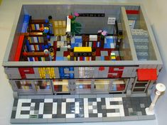 A bookstore made of Legos: Pages Bookstore located on Lego Boulevard.