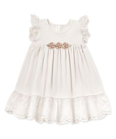 Look what I found on #zulily! Ivory & Toffee Rosette Eyelet Dress - Infant #zulilyfinds