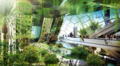 Jedno z pater vertikálně orientované farmy. foto: Vincent Callebaut Architectures
