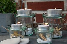 Neue Deko im Weckglas / New deco in glasses Neue Deko im Weckgla. Neue Deko im Weckglas / New deco in glasses Neue Deko im Weckglas / New deco in glasses Pot Mason, Mason Jars, Old Cds, Old Sweater, Pots, Summer Diy, Candle Lanterns, Decoration Table, Crafty Projects