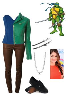 """TMNT inspired: Leonardo"" by jhasy ❤ liked on Polyvore featuring Givenchy, Warehouse, Dsquared2, BERRICLE, Vans, leatherjacket, TMNT and ninjaturtle"