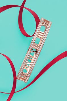 ~Atlas® hinged bangle in 18k rose gold with diamonds. Tiffany | The House of Beccaria