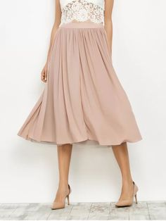 Mesh Layers Midi Skirt - Light Pink L